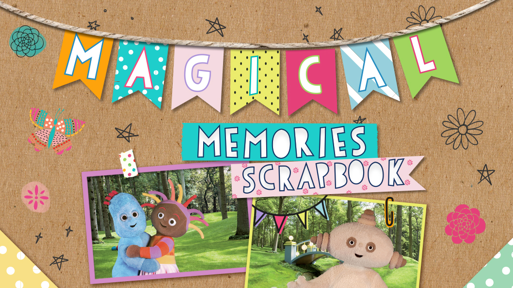 A brown bulletin board with two photographs of unique creatures in a park and a sign that reads Magical Memories Scrapbook.